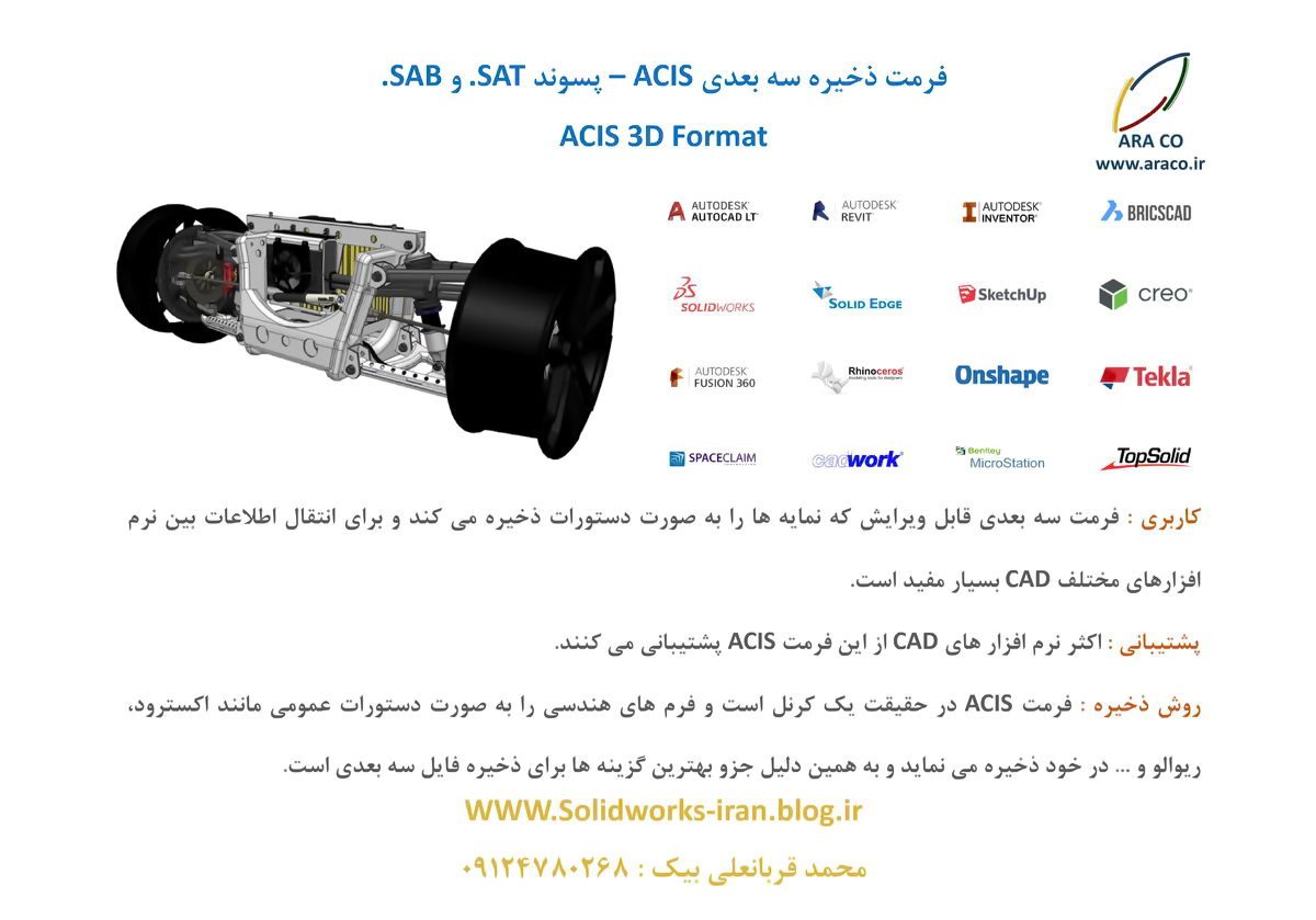 مشخصات فرمت ذخیره سه بعدیACIS با پسوند .SAT و .SAB برای اینونتور، سالیدورک، کتیا و فیوژن