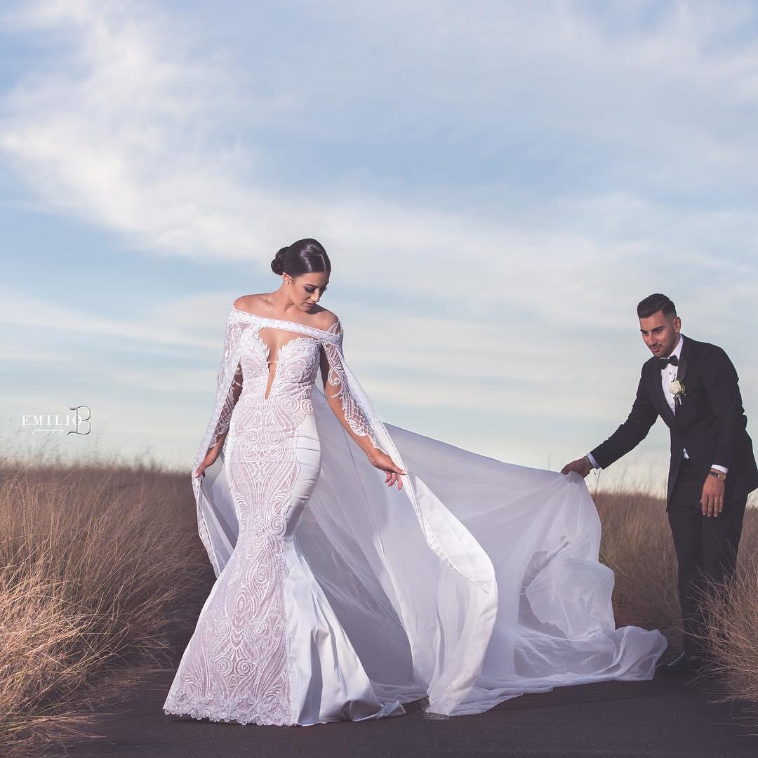 مدل لباس نامزدی شنل  دار 2019