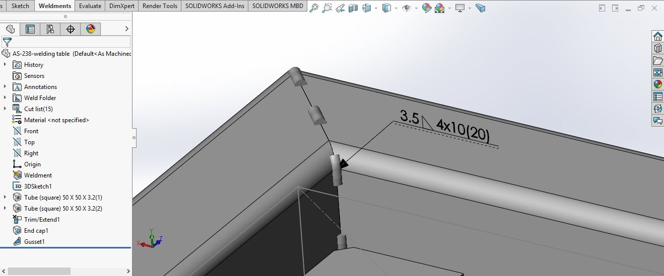 ُSolidworks weldment 9