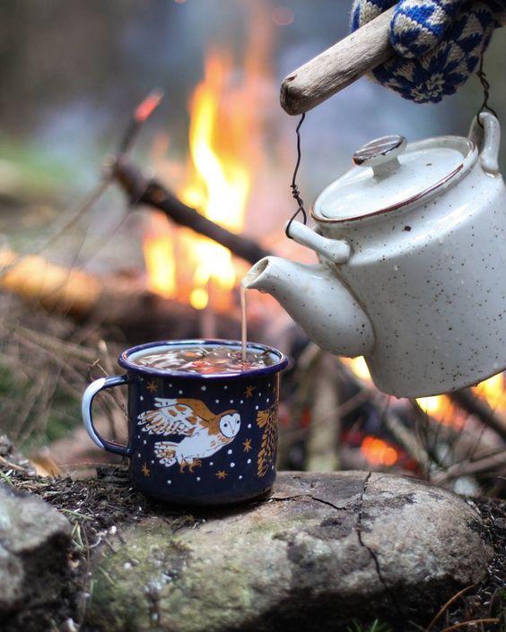 عکس کتری  و چای در طبیعت پاییز برای پروفایل تلگرام