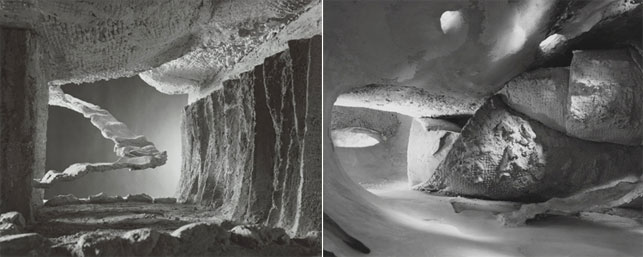 Interior views of the Endless House model Frederick Kiesler built in 1959