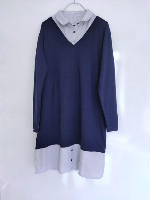 خرید پیراهن زنانه راحتی سرمه ای سایزبزرگ با یقه ی مردانه