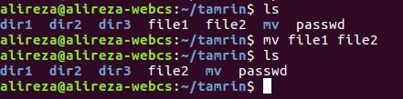 خط فرمان لینوکس دستور mv به منظور جابه جایی و تغییر نام فایلها و پوشه ها