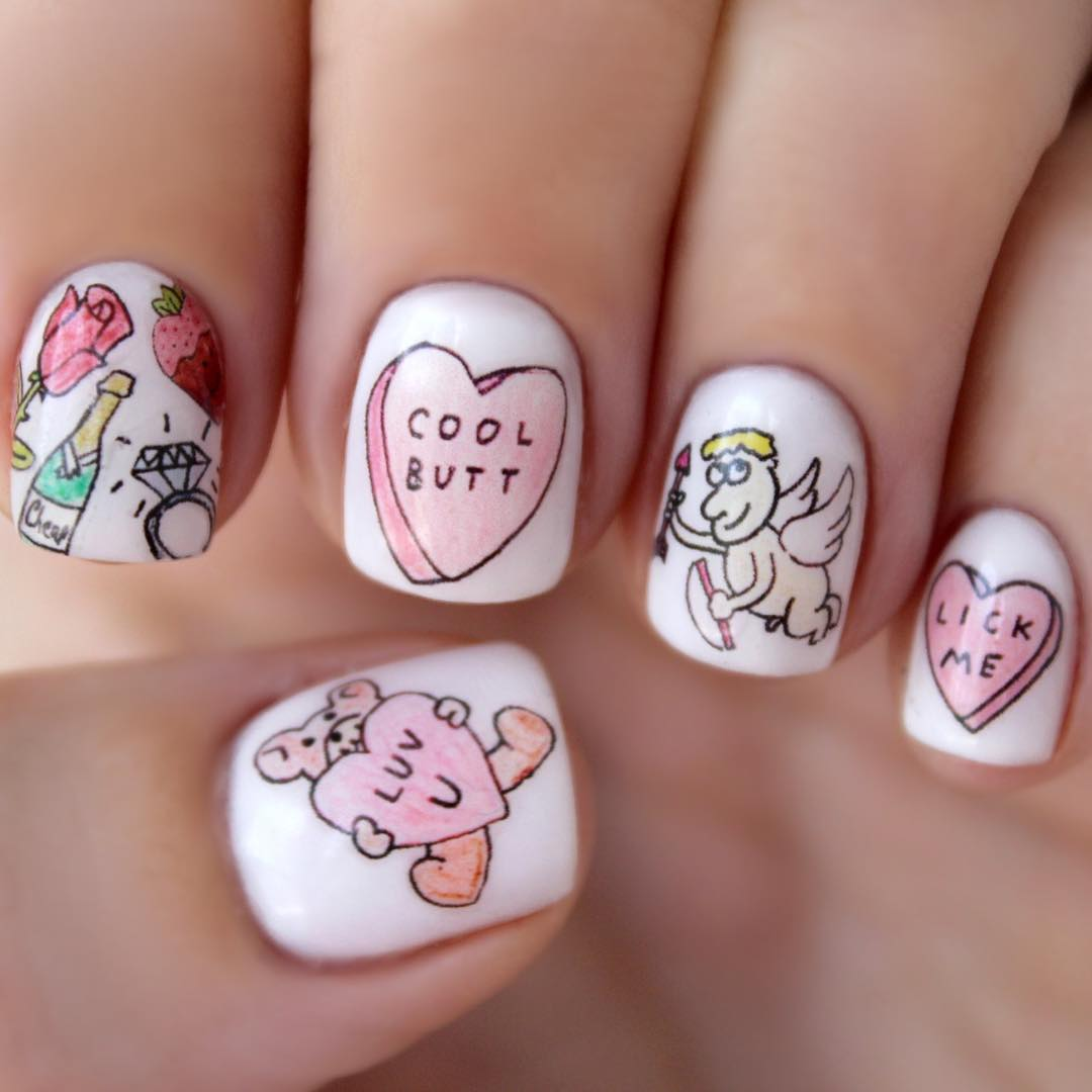 ایده طراحی روی ناخن برای روز ولنتاین (مخصوص خانم ها)