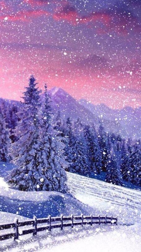 پس زمینه زمستان برفی برای موبایل