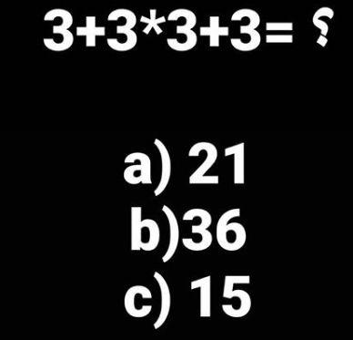 جواب معمای ریاضی؟ =3+3*3+3