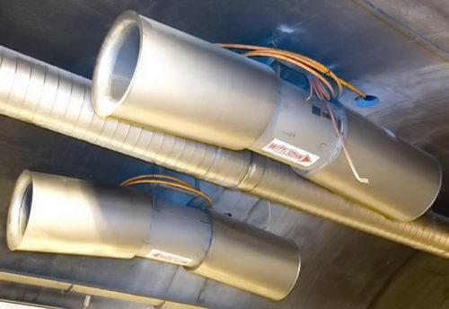 جت فن موزی شکل که برای تغییر زاویه جریان هوا در تونل استفاده می شود.