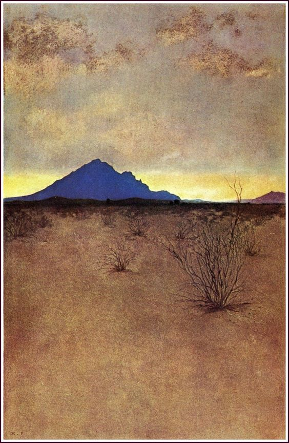 A Lonely Mountain at Sunset by Maxfield Parrish