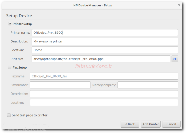 HP Device Manager in action on my Fedora Linux 29 workstations