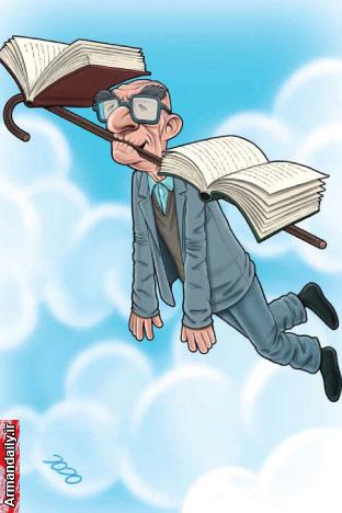 کاریکاتور سالمند و کتاب