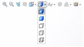 با این دستور نوع نمایش دادن مدل سه بعدی در سالید ورک تغییر می کند