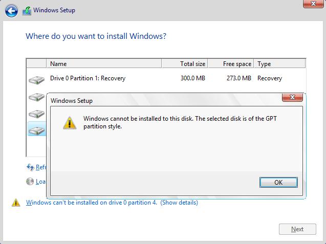 خطای نصب ویندوز بصورت MBR در سیستمی که ویندوز بصورت UEFI و GPT نصب شده است