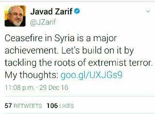 مطلب مجمد جواد ظریف در مورد آتش بس سوریه