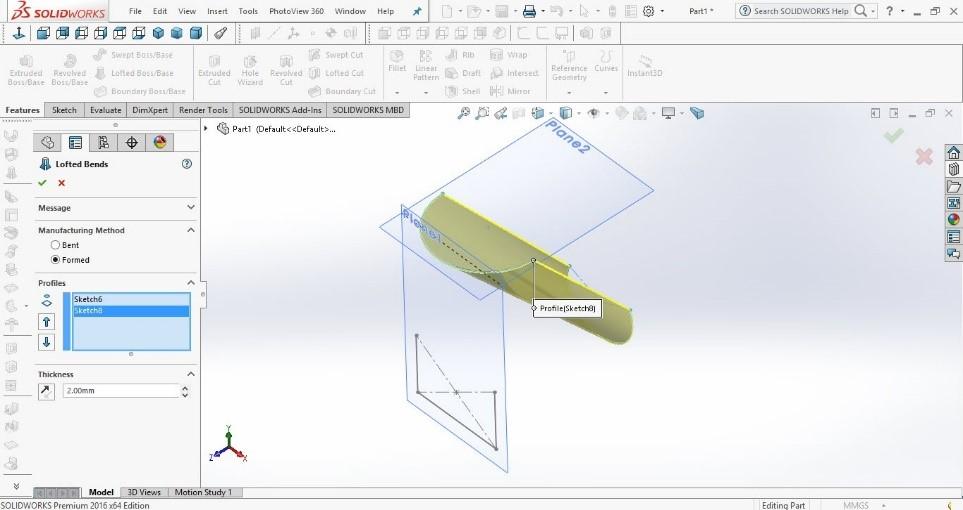 ایجاد قطعه در بخش ورقکاری سالیدورکز با دستور Solidworks loft