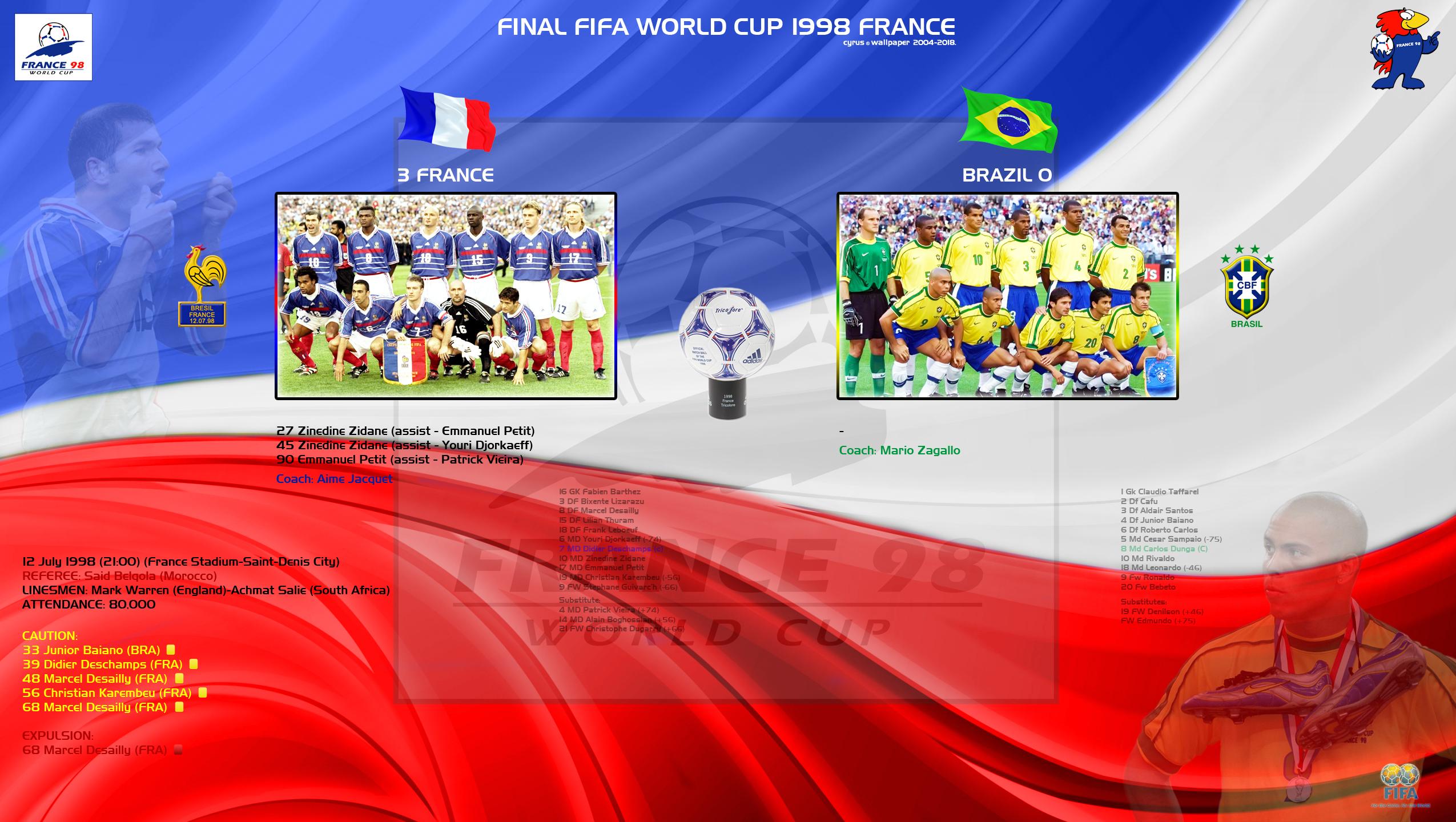 والپیپر فینال جام جهانی 1998 فرانسه
