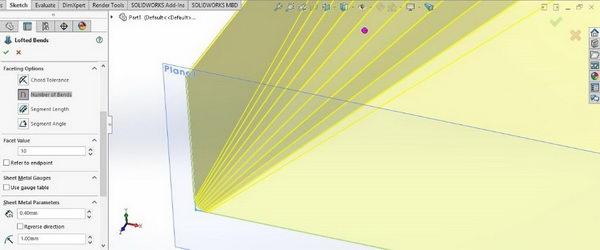 دستور Bend در Solidworks sheet metal