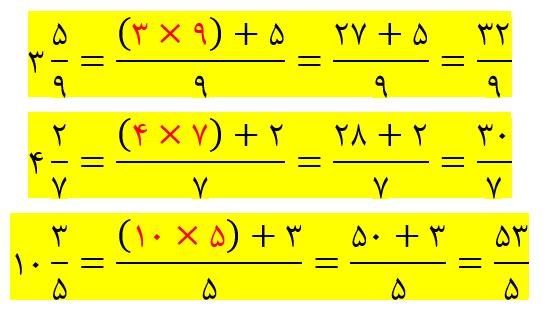 تبدیل عدد مخلوط به کسری