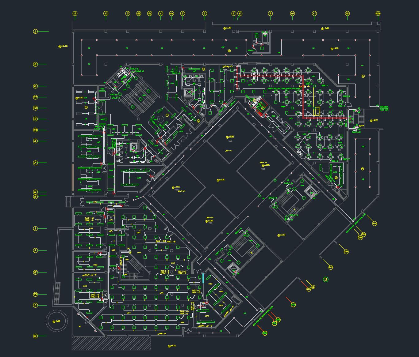 دانلود نقشه تأسیسات الکتریکی مجتمع ۱۷ طبقه ۹ واحدی