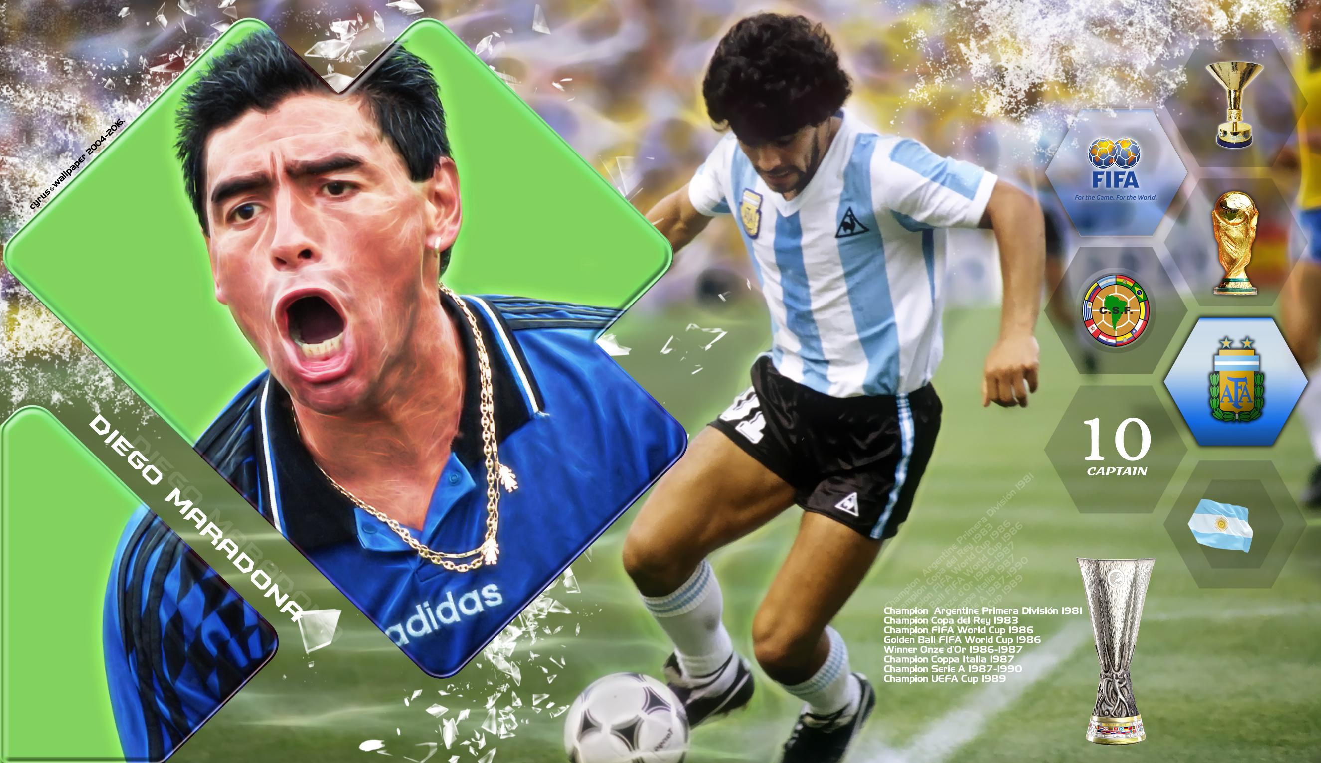 والپیپر دیه گو مارادونا بازیکن افسانه ای آرژانتین در جام جهانی
