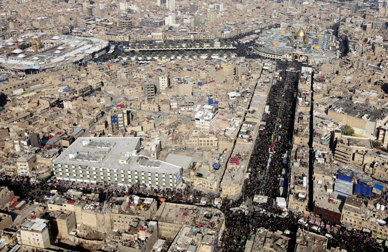 تصاویر هوایی از پیاده روی اربعین کربلا
