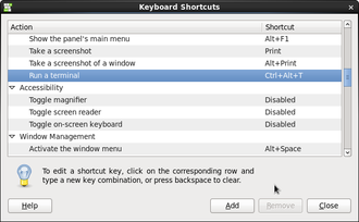 Keyboard Shortcuts terminal