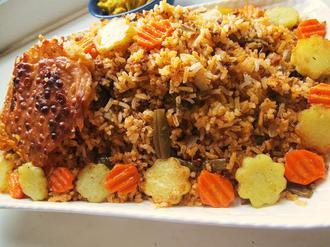 لوبیا پلو با گوشت چرخ کرده