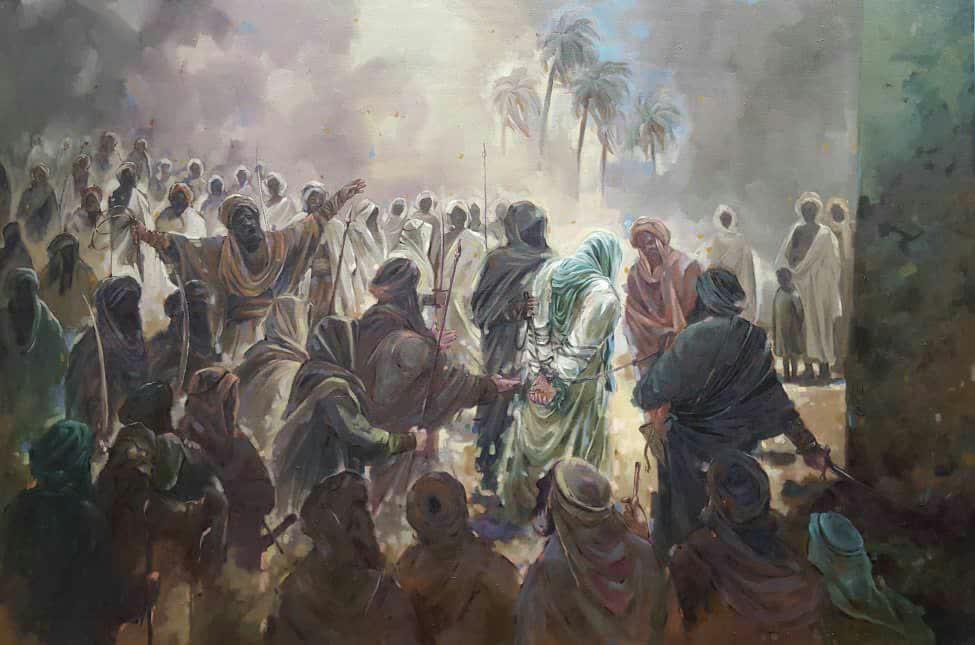 نقاشی منحصر به فرد استاد علی بحرینی درباره امیرالمومنین علی و شهادت حضرت زهرا