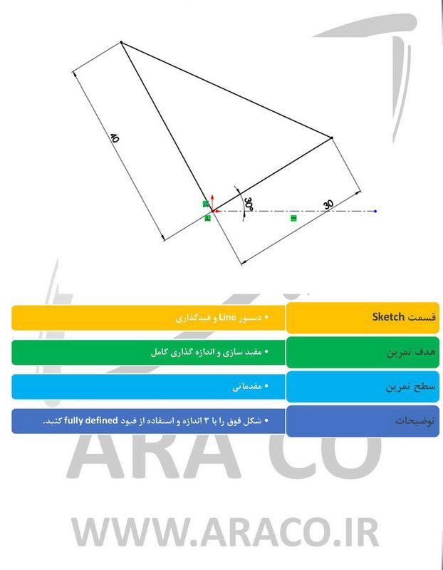 تمرین رسم خط در سالیدورکس-2