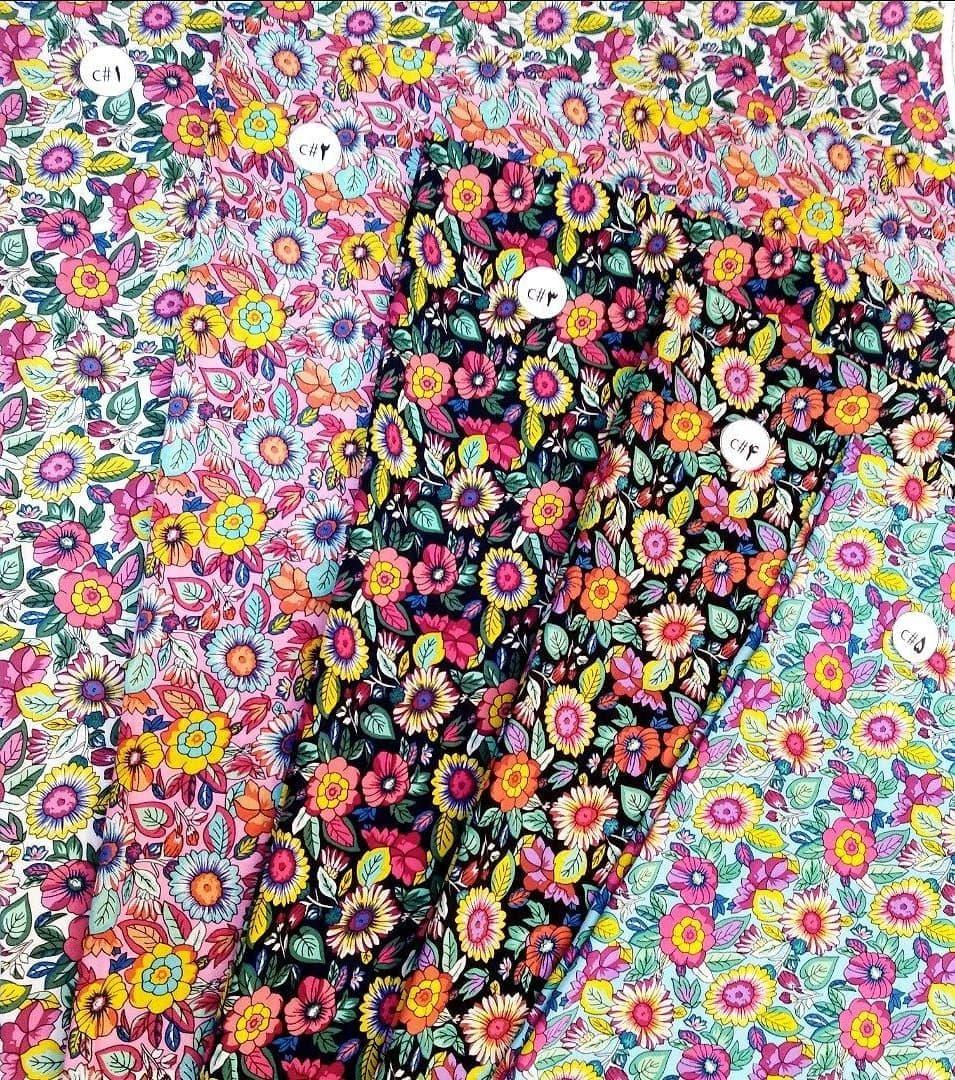 نخی خارجی گلدار در 5 رنگ