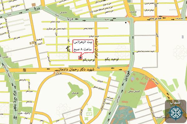 نقشه بیت الزهرا (س) و ساعت سخنرانی حجت اسلام پناهیان