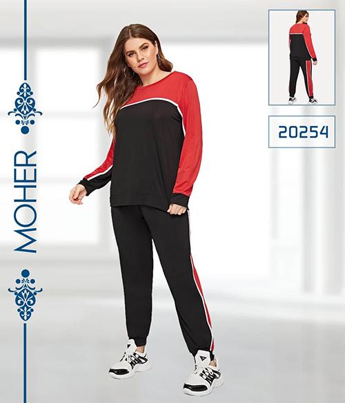 خرید ست بلوز شلوار راحتی زنانه سایزبزرگ رنگ مشکی و قرمز