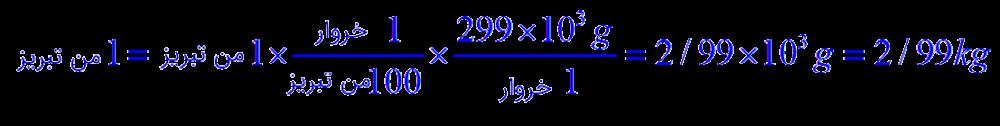 یک من تبریز چند کیلو گرم است؟