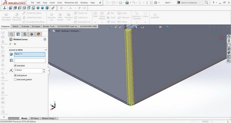 آموزش دستور welded corner در Solidworks sheet metal