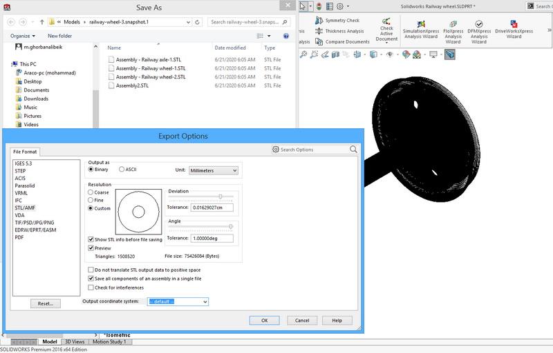 تنظیم دقت مدل سه بعدی STL در سالیدورکس