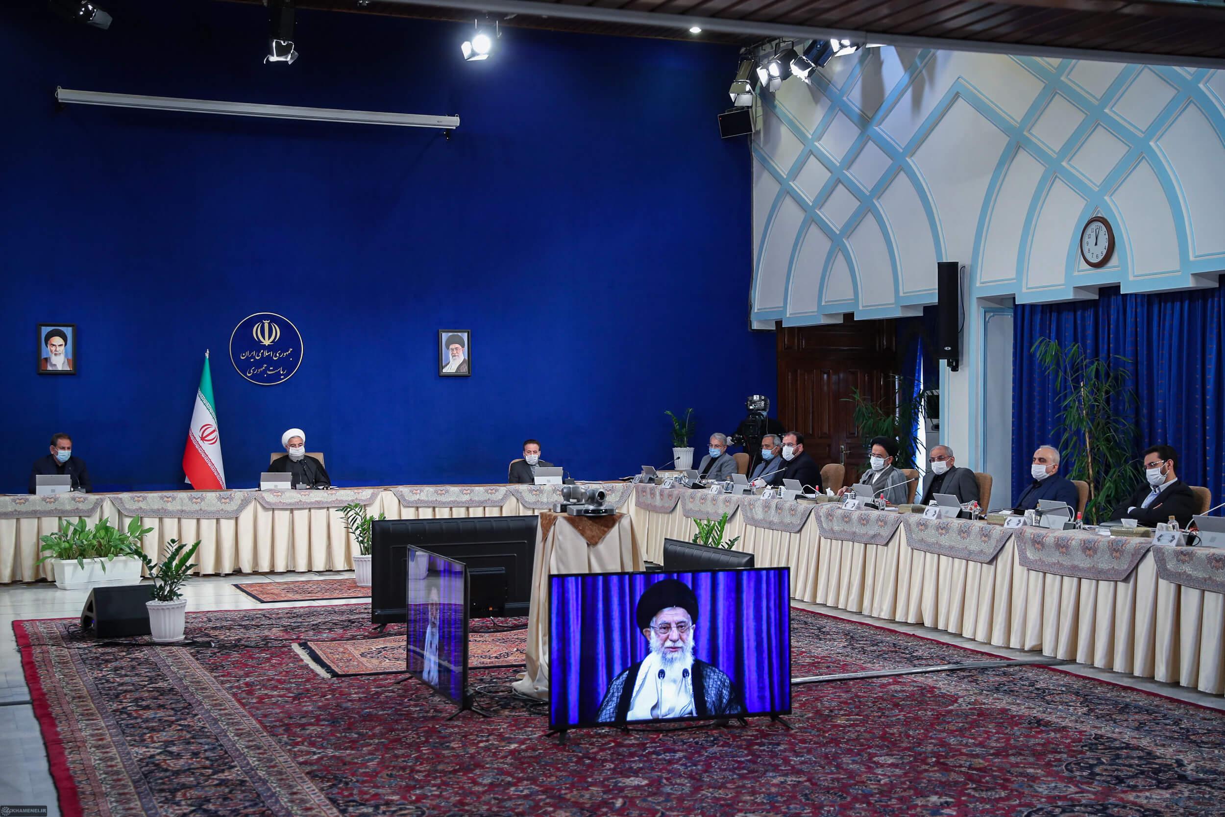 دیدار امام خامنه ای با هیئت دولت حسن روحانی از تماس ویدیوی