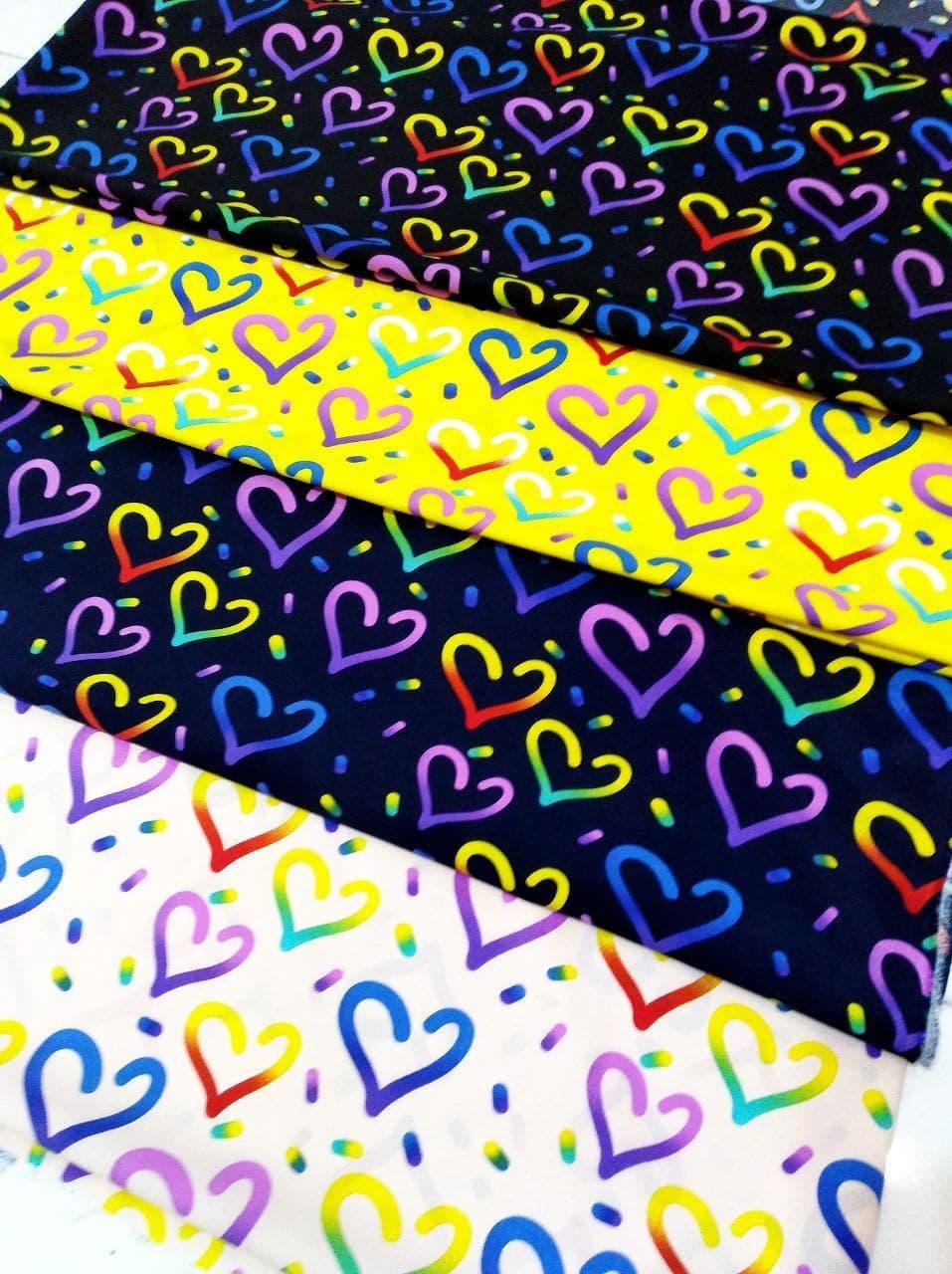کرپ سوپر سافت طرح قلب رنگین کمان