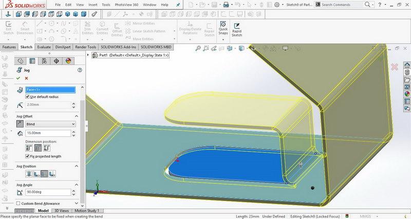 آموزش ایجاد برآمدگی در Solidworks sheetmetal